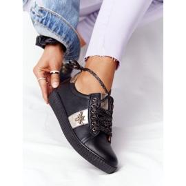 Damskie Skórzane Tenisówki Lewski Shoes 2786-0 Czarno-Złote czarne złoty 2