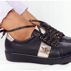 Damskie Skórzane Tenisówki Lewski Shoes 2786-0 Czarno-Złote czarne złoty 1