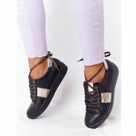 Damskie Skórzane Tenisówki Lewski Shoes 2786-0 Czarno-Złote czarne złoty 3