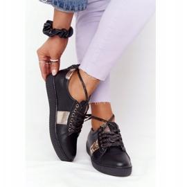 Damskie Skórzane Tenisówki Lewski Shoes 2786-0 Czarno-Złote czarne złoty 6
