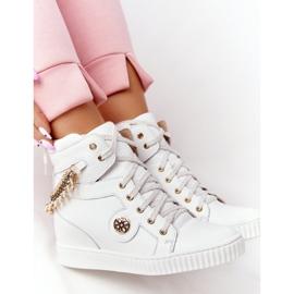 Skórzane Sneakersy Na Koturnie Lewski Shoes 3004-0 Białe 1