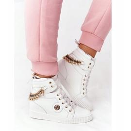 Skórzane Sneakersy Na Koturnie Lewski Shoes 3004-0 Białe 3