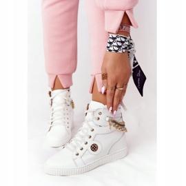 Skórzane Sneakersy Na Koturnie Lewski Shoes 3004-0 Białe 2