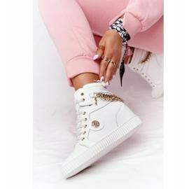 Skórzane Sneakersy Na Koturnie Lewski Shoes 3004-0 Białe 4