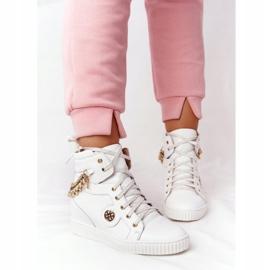 Skórzane Sneakersy Na Koturnie Lewski Shoes 3004-0 Białe 5