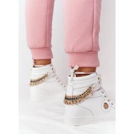 Skórzane Sneakersy Na Koturnie Lewski Shoes 3004-0 Białe 6