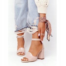 PV3 Skórzane Sandały Na Słupku Visconi 4361537 Nude beżowy różowe 4