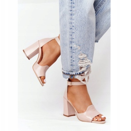 PV3 Skórzane Sandały Na Słupku Visconi 4361537 Nude beżowy różowe 1