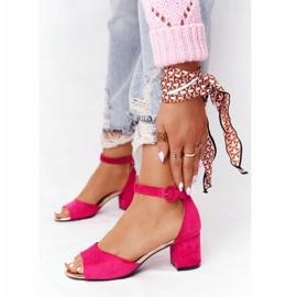Zamszowe Sandały Na Obcasie Vinceza 21-20100 Fuksja różowe 1