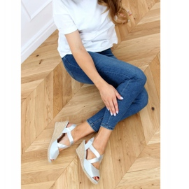Sandałki espadryle na koturnie srebrne 9R38 Silver srebrny 2