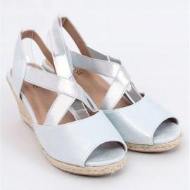 Sandałki espadryle na koturnie srebrne 9R38 Silver srebrny 1