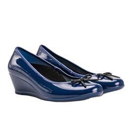 Niebieskie balerinki meliski na koturnie Garett 1