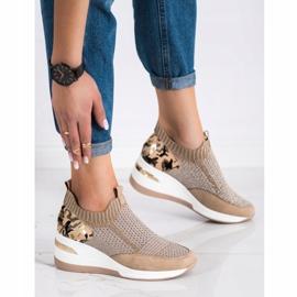 ARTIKER Wsuwane Sneakersy Moro Print brązowe 3