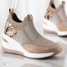 ARTIKER Wsuwane Sneakersy Moro Print brązowe 2