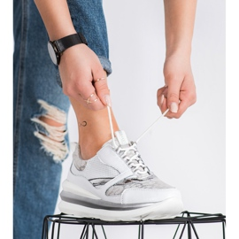 ARTIKER Biało-szare Sneakersy Ze Skóry białe 2