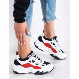 SHELOVET Sznurowane Sneakersy Fashion białe czarne czerwone srebrny 3