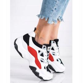 SHELOVET Sznurowane Sneakersy Fashion białe czarne czerwone srebrny 2