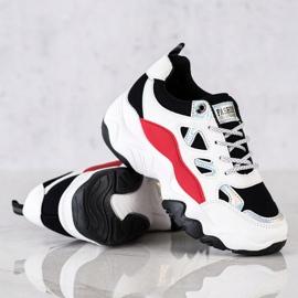SHELOVET Sznurowane Sneakersy Fashion białe czarne czerwone srebrny 1
