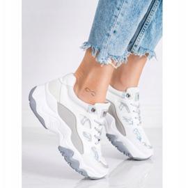 SHELOVET Sznurowane Sneakersy Fashion białe szare 1