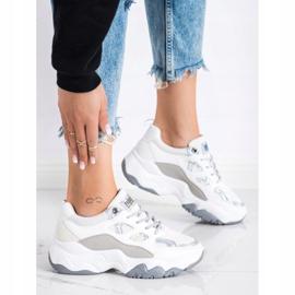 SHELOVET Sznurowane Sneakersy Fashion białe szare 2