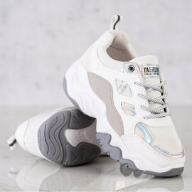SHELOVET Sznurowane Sneakersy Fashion białe szare 3