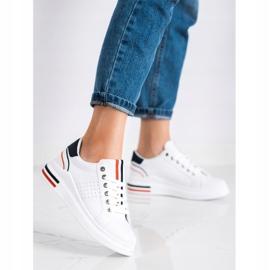 SHELOVET Sneakersy Z Eko Skóry białe czerwone granatowe 1