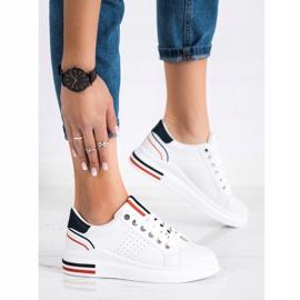 SHELOVET Sneakersy Z Eko Skóry białe czerwone granatowe 3