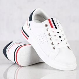 SHELOVET Sneakersy Z Eko Skóry białe czerwone granatowe 2