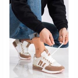 SHELOVET Buty Sportowe Z Siateczką beżowy białe złoty 1