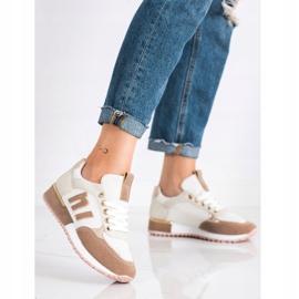 SHELOVET Buty Sportowe Z Siateczką beżowy białe złoty 2