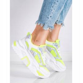 SHELOVET Sneakersy Na Platformie Z Siateczką białe wielokolorowe zielone 1