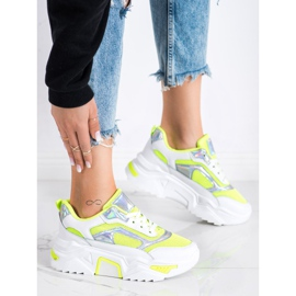 SHELOVET Sneakersy Na Platformie Z Siateczką białe wielokolorowe zielone 2