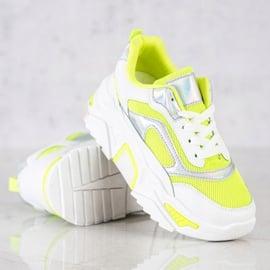 SHELOVET Sneakersy Na Platformie Z Siateczką białe wielokolorowe zielone 3
