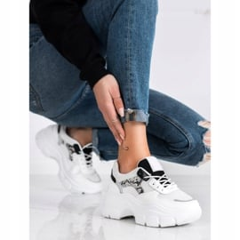 SHELOVET Stylowe Sneakersy Z Brokatem białe czarne srebrny 2