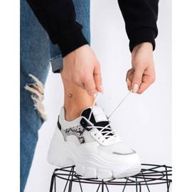 SHELOVET Stylowe Sneakersy Z Brokatem białe czarne srebrny 1