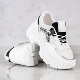 SHELOVET Stylowe Sneakersy Z Brokatem białe czarne srebrny 3