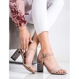 S. BARSKI Kalsyczne Sandały Z Ozdobnym Obcasem beżowy 1