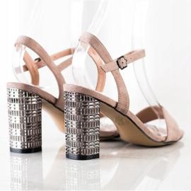 S. BARSKI Kalsyczne Sandały Z Ozdobnym Obcasem beżowy 3