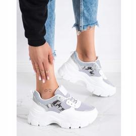 SHELOVET Stylowe Sneakersy Z Brokatem białe srebrny szare 3
