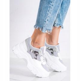 SHELOVET Stylowe Sneakersy Z Brokatem białe srebrny szare 1