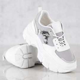 SHELOVET Stylowe Sneakersy Z Brokatem białe srebrny szare 2