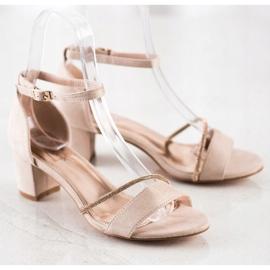 Goodin Eleganckie Sandały Z Cyrkoniami beżowy złoty 1