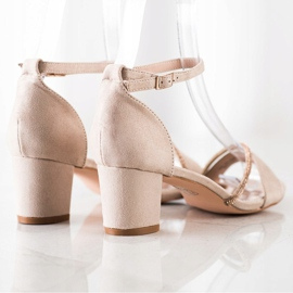 Goodin Eleganckie Sandały Z Cyrkoniami beżowy złoty 4