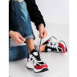 SHELOVET Stylowe Sneakersy białe czarne czerwone srebrny 1