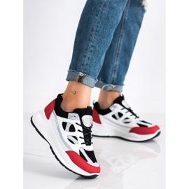 SHELOVET Stylowe Sneakersy białe czarne czerwone srebrny 2