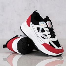 SHELOVET Stylowe Sneakersy białe czarne czerwone srebrny 3