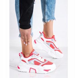 SHELOVET Sneakersy Na Platformie Z Siateczką białe czerwone 3