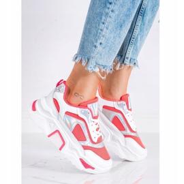 SHELOVET Sneakersy Na Platformie Z Siateczką białe czerwone 2