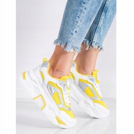 SHELOVET Sneakersy Na Platformie Z Siateczką białe srebrny żółte 1