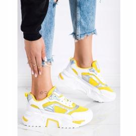 SHELOVET Sneakersy Na Platformie Z Siateczką białe srebrny żółte 2